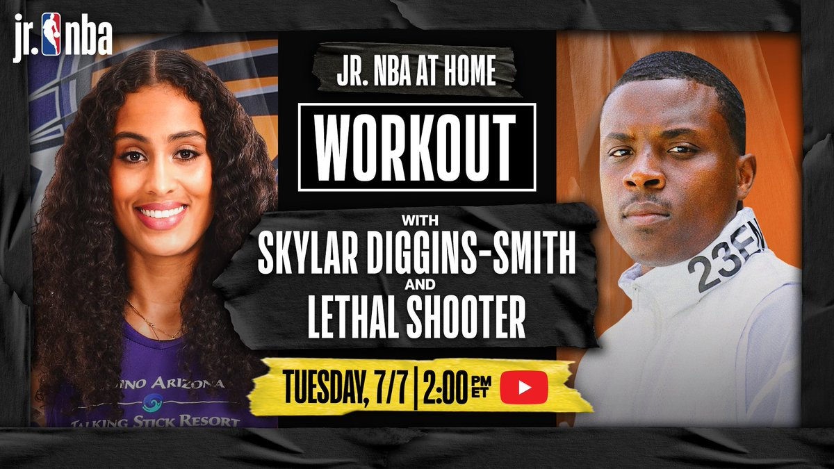 #RT @NBA: RT @jrnba: Are you looking for a basketball workout⁉️ Look no further‼️   Tomorrow's #JrNBAatHome Workout at 2:00 PM/ET features @PhoenixMercury's @SkyDigg4 with @LethalShooter__ 🔥   Grab a 🏀, some space, and we'll see you on #JrNBA YouTube‼️ https://t.co/uuQisFiDEu