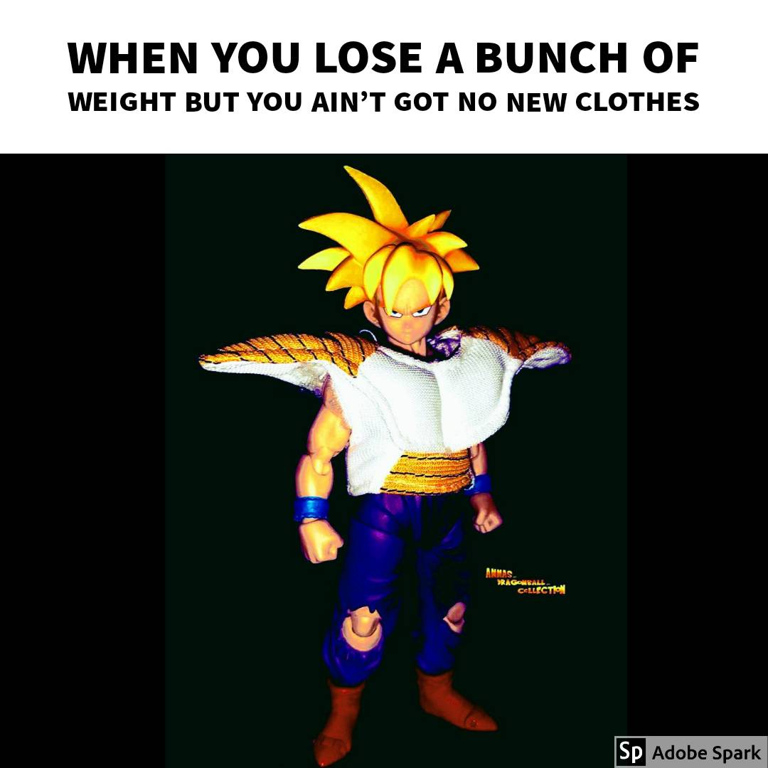 When you lose a bunch of weight but you ain't got no new clothes   #Figure work by @annas_dragonball_collection ° ° ° ° ° #dbz #DragonballZ #dbs #dbsuper #actionfigures #TheStruggle #RelatablePost #RelatablePosts #relatableshit #relatablepic.twitter.com/Eqwh9J5U9c