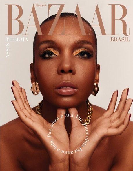 Thelminha para a capa da revista Bazaar desse mês, homenageando Donyale Luna, a primeira mulher negra a estampar a capa da Vogue em 1966 https://t.co/N1qqWfvBVn