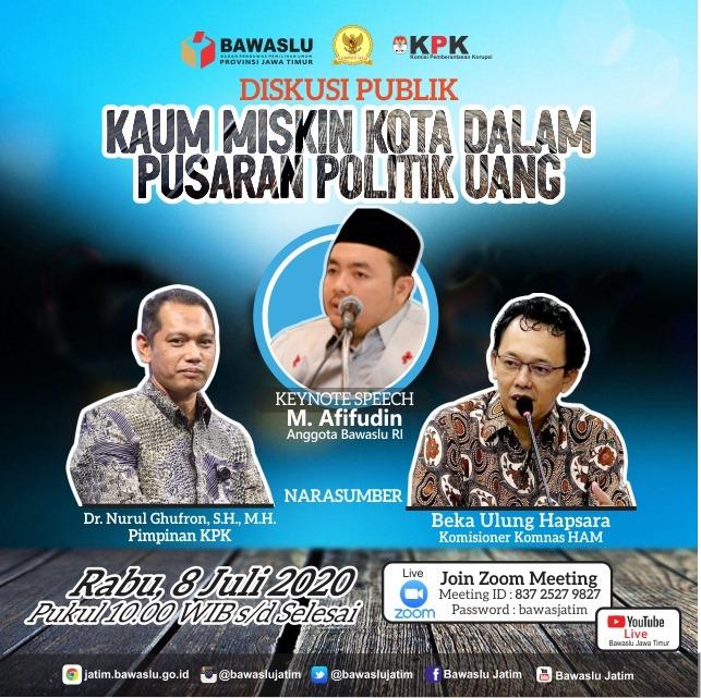Problem yang tak pernah selesai dalam pelaksanaan pemilu/pemilukada, Politik uang. Mari gabung dalam diskusi besok, mencari solusi bersama supaya kualitas demokrasi Indonesia membaik https://t.co/dJxZBkZK1H