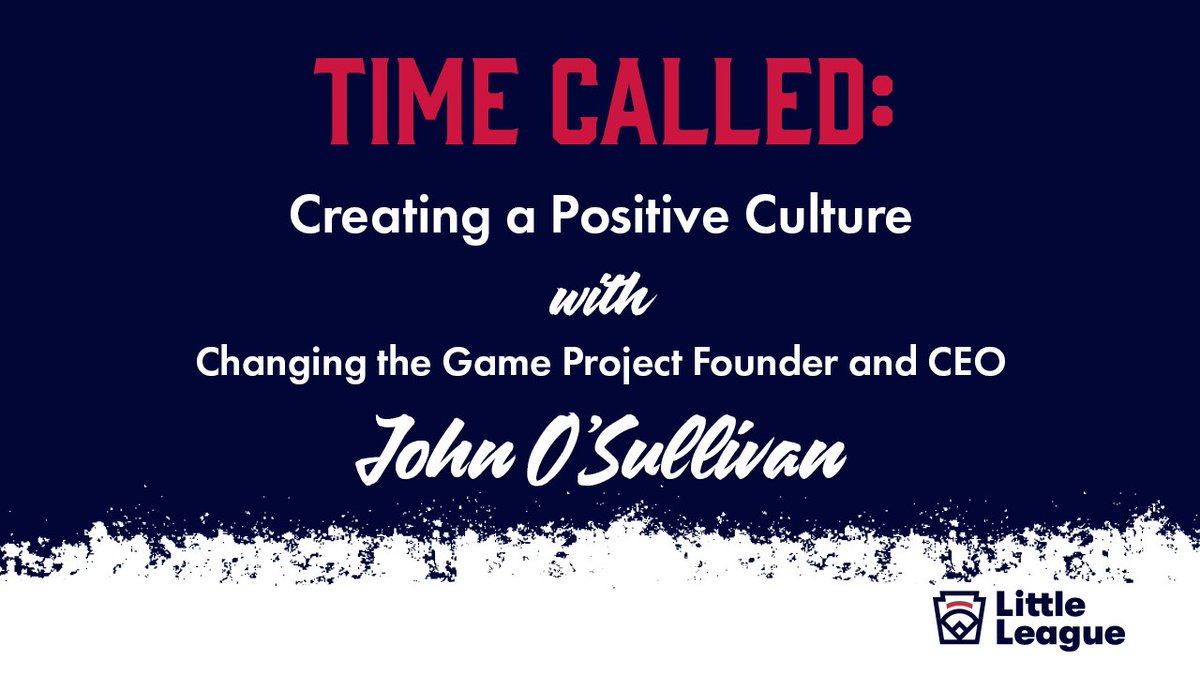 Join us Thursday at 5 p.m. ET for a discussion on how to create a positive culture with @CTGProjectHQ CEO John OSullivan! Get a reminder🗓: facebook.com/littleleague/l…