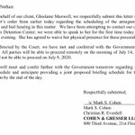 Image for the Tweet beginning: NEW: Ghislaine Maxwell's attorneys consent