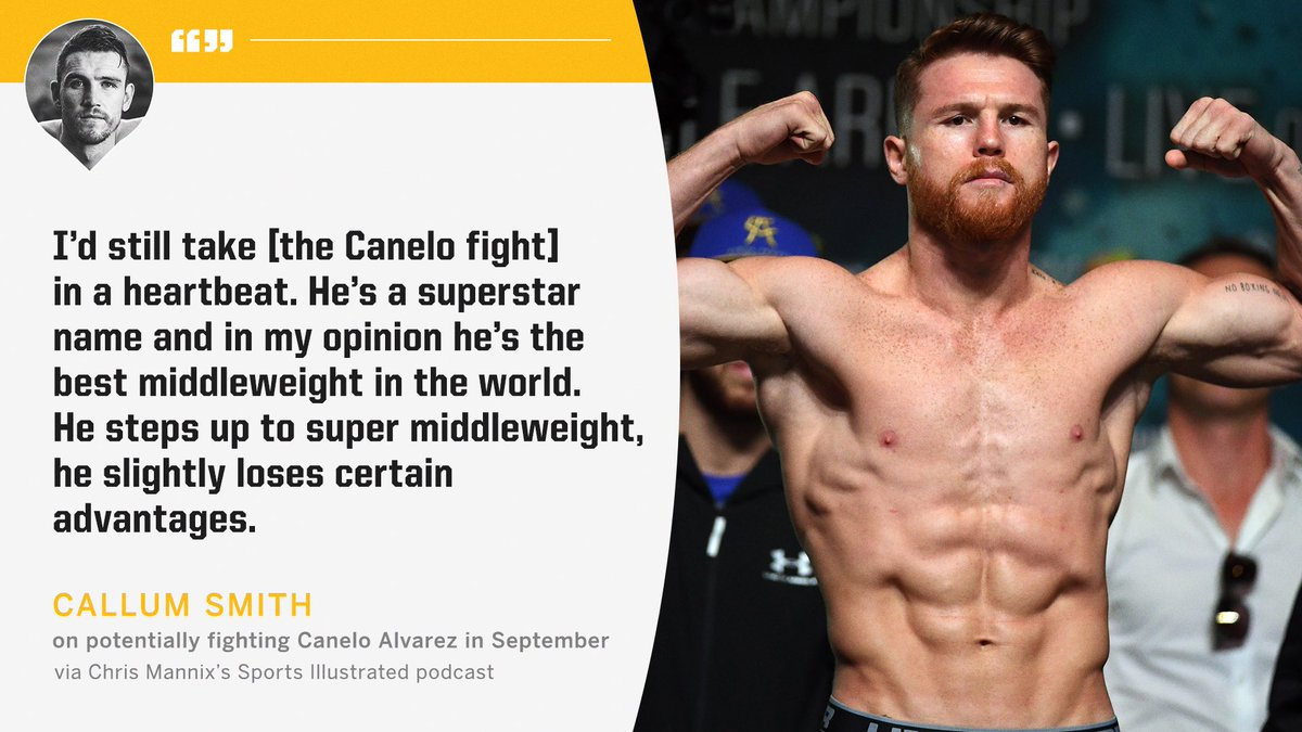 "Callum Smith believes Canelo ""loses"" something at 168 pounds. https://t.co/eNrijcAD5x"
