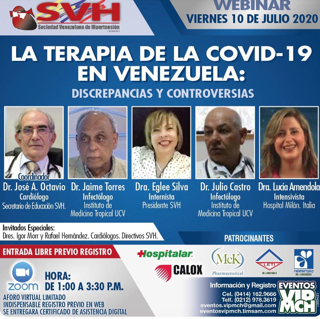 La Sociedad Venezolana de Hipertensión invita a un seminario este Viernes 10 de Julio, la presidenta de la Sociedad es la Dra. Eglee Silva, investigadora zuliana. Hay que registrarse pero es evento gratuito. https://t.co/FBYzOKe8y9