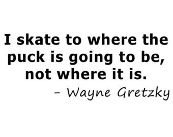 """""""I skate to where the puck is going to be, not where it is."""" ~ Wayne Gretzky #salestips #salesleadership https://t.co/2NAGPbi0Dz"""