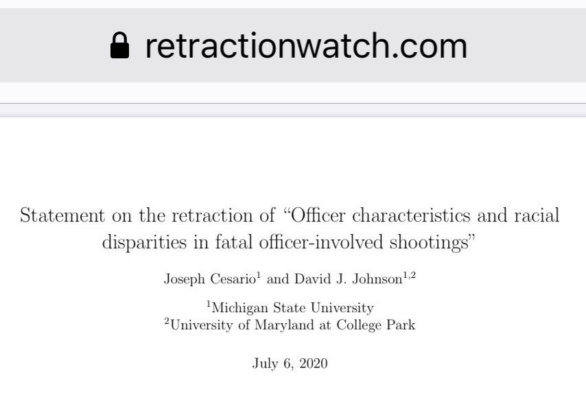 Holy sh*t  The authors of a 2019 research article pretending there's no racial bias in officer-involved shootings – repeatedly cited by authoritarian hacks like Heather Mac Donald – asked to fully retract it 🤪  Retraction: https://t.co/SWBacwGBBv  Story: https://t.co/qmhD5AiZmu https://t.co/nEURYy0ae4