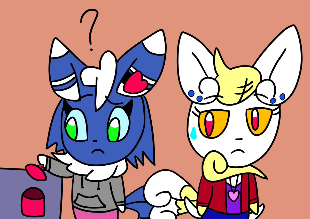 """""""Huh? I thought there was one more..."""" """"(Uh oh...) """"  Looks like someone sneaked the last cookie. Even Amber has a sweet tooth! #myart #pokemon #meowstic<br>http://pic.twitter.com/pD7v8wQyga"""
