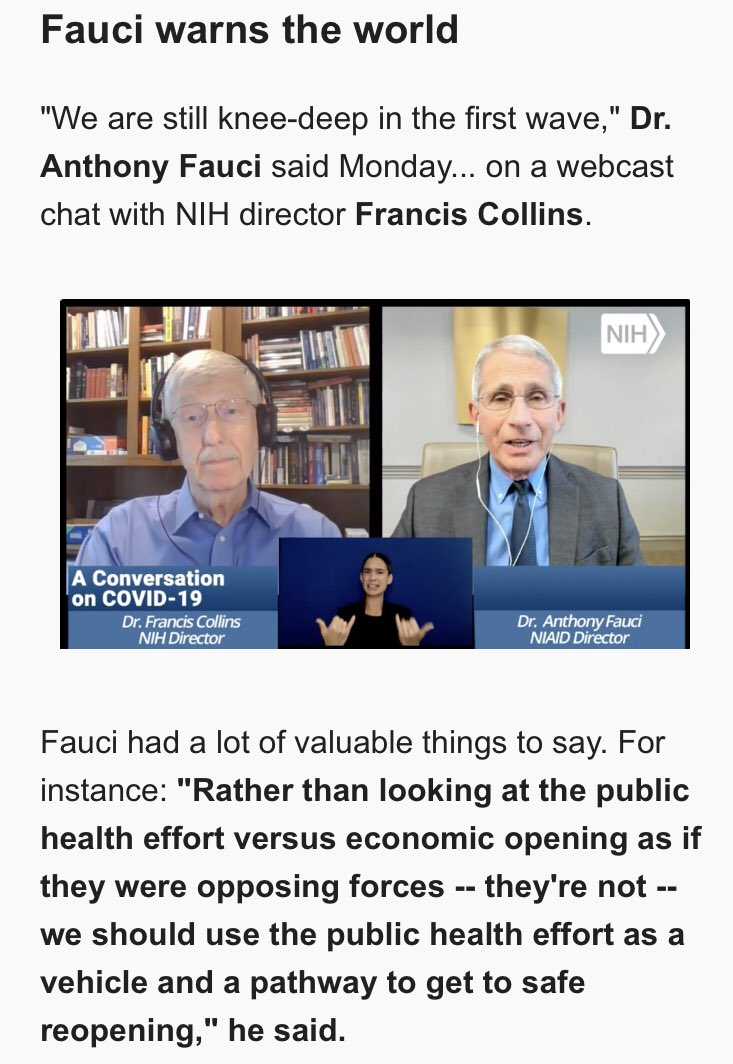 """CNN's @brianstelter: """"Let's be honest, practically no one streamed this webcast … The White House should let Fauci appear on TV every single day.""""   https:// view.newsletters.cnn.com/messages/15940 908547306856ebc989a8/raw?utm_term=15940908547306856ebc989a8&utm  … <br>http://pic.twitter.com/MKUJnoVIvm"""