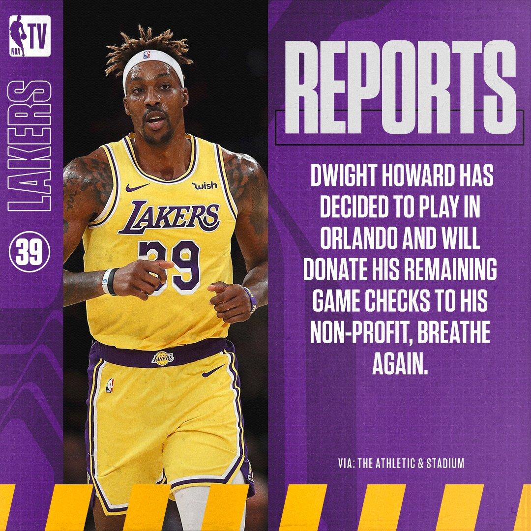 Reports: Dwight Howard will play in restarted NBA season. https://t.co/FwEHGW17dN