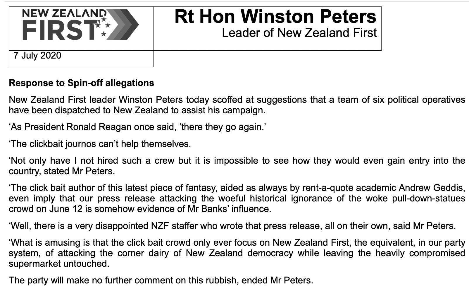 "Sam Sachdeva on Twitter: ""Winston Peters on Arron Banks & his ..."