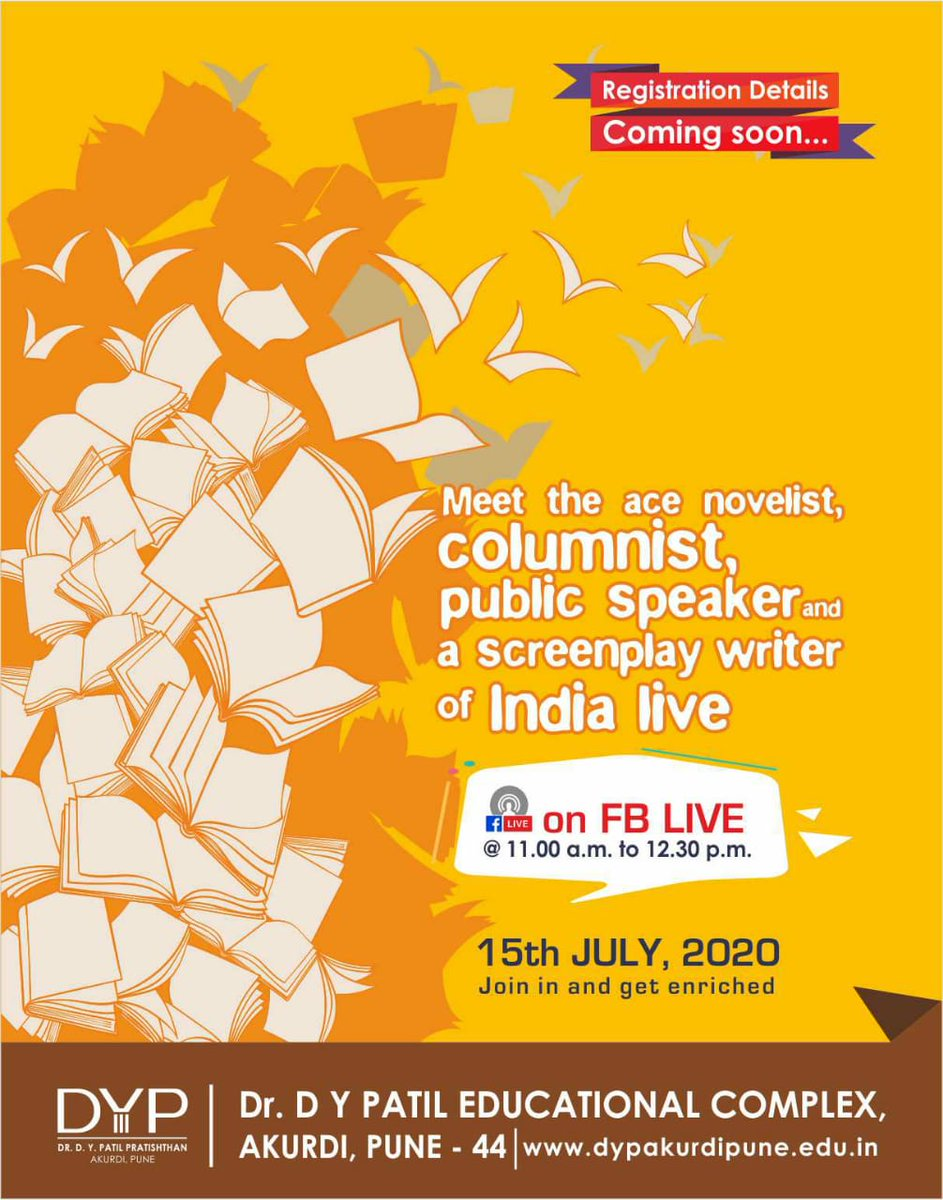 Would you hear to a most  popular Novelist,  columnist, screenplay writer of India.. ????  Join us soon for this event!!!!  #events #author #DYPECAKURDI  #dypakurdipunepic.twitter.com/RR32yxWmKq