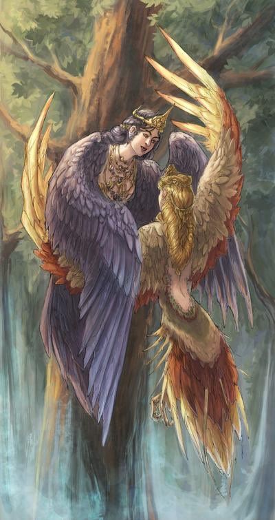 #FairyTaleTuesday In Slavic folktales Sirin & Alkonost are 2 birds of paradise. Half bird, half woman they come down to earth to sing their hypnotic sweet song to man. The sirin symbolises joy & light, the alkonost, sorrow and darkness. Alivis, Incantata DeviantArt pic.twitter.com/HHLWQYbb0s
