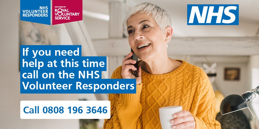 Things are beginning to return to normal, but if you need help with collecting shopping, prescriptions and other essentials, or simply need a friendly chat — the #NHSVolunteerResponders are still here for you. Simply call 0808 196 3646 for support.  https://t.co/NybzR75Y37 https://t.co/w6qMNWqxB4
