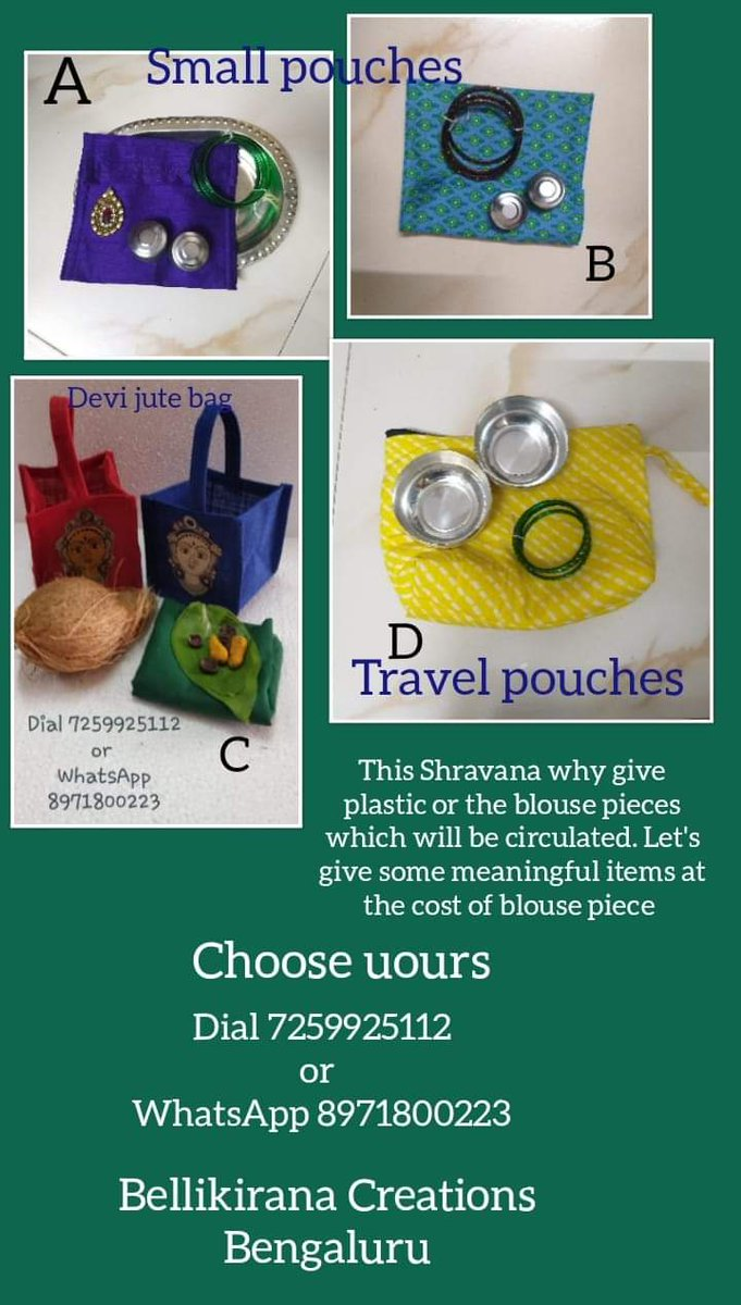 Sharavana soon Take a look at our wide range of cotton/jute pouches and bags Call 7259925112