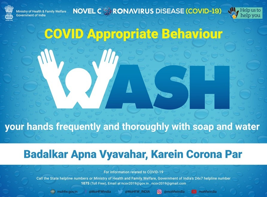 #handwashing with soap with water is a norm of the #NewNormal  Let us inculcate this #COVID19 Appropriate Behaviour of frequently and properly washing hands 👐  #Together we can fight #coronavirus  #SwasthaBharat #HealthForAll  #SpreadTheWord https://t.co/lRfB8faNWZ