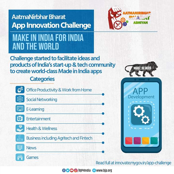 Great opportunity for Indian start-up and tech community to leverage their talent to develop state-of-the-art 'Made in India' Apps.  Modi Govt has launched 'Aatmanirbhar Bharat App Innovation Challenge' in several categories.  Check details on https://t.co/J7PU3xlFWC https://t.co/rYWYhHJJL7