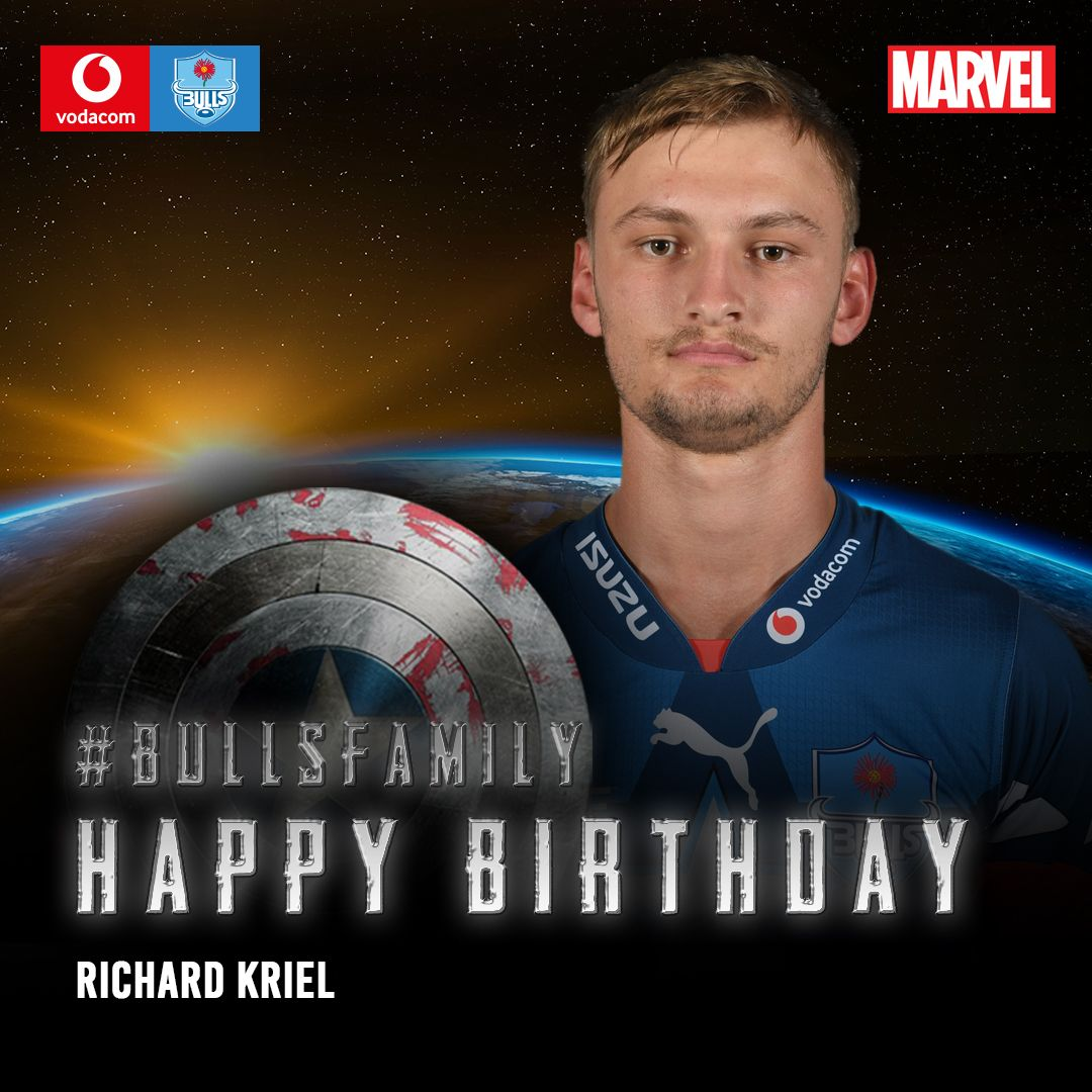 The Vodacom Bulls would like to wish Richard Kriel a very happy birthday. We hope that this year is filled with great memories. Enjoy your special day. #BullsFamily