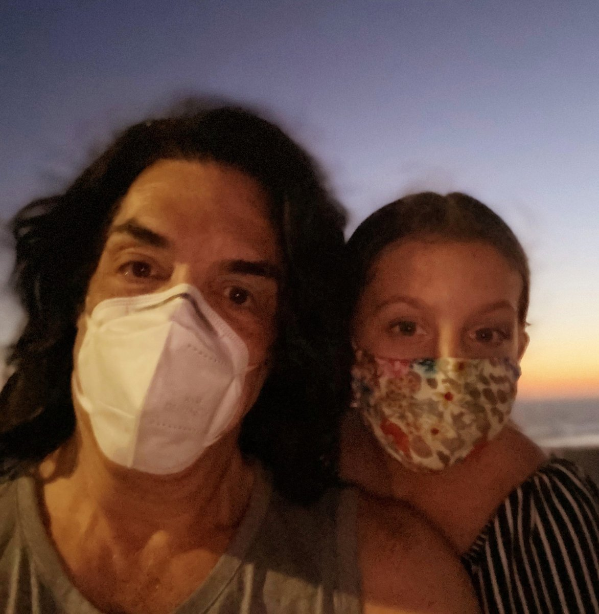 Sunset at the beach with Emily. WEAR YOUR MASK! Dont listen to conspiracy theorists or graduates of The Internet University Of Medicine. While the credible authorities and experts continue to learn more about Covid 19 they remain in agreement about safety protocols. End of story