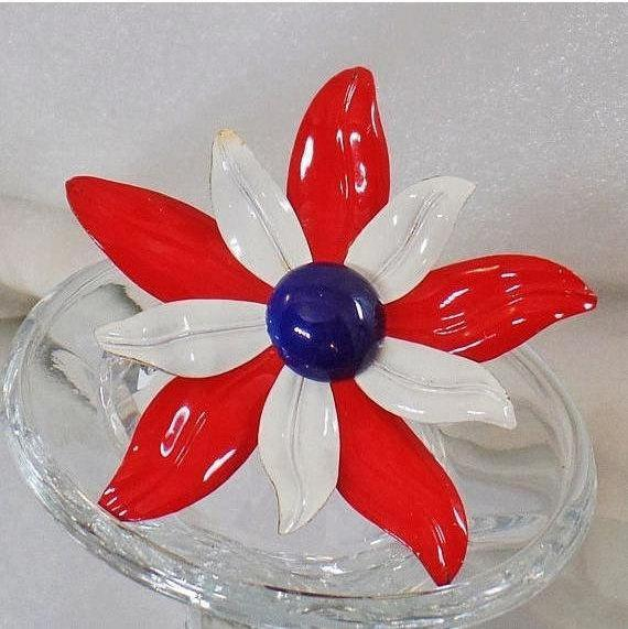 Flower Brooch. #Vintage Brooch. Large Brooch. Red White Blue Pin. Patriotic Brooch.  USA Brooch. Brooches for Women. #Gifts for Her. waalaa #antique #shopping #jewelry #jewellery #wedding #etsy