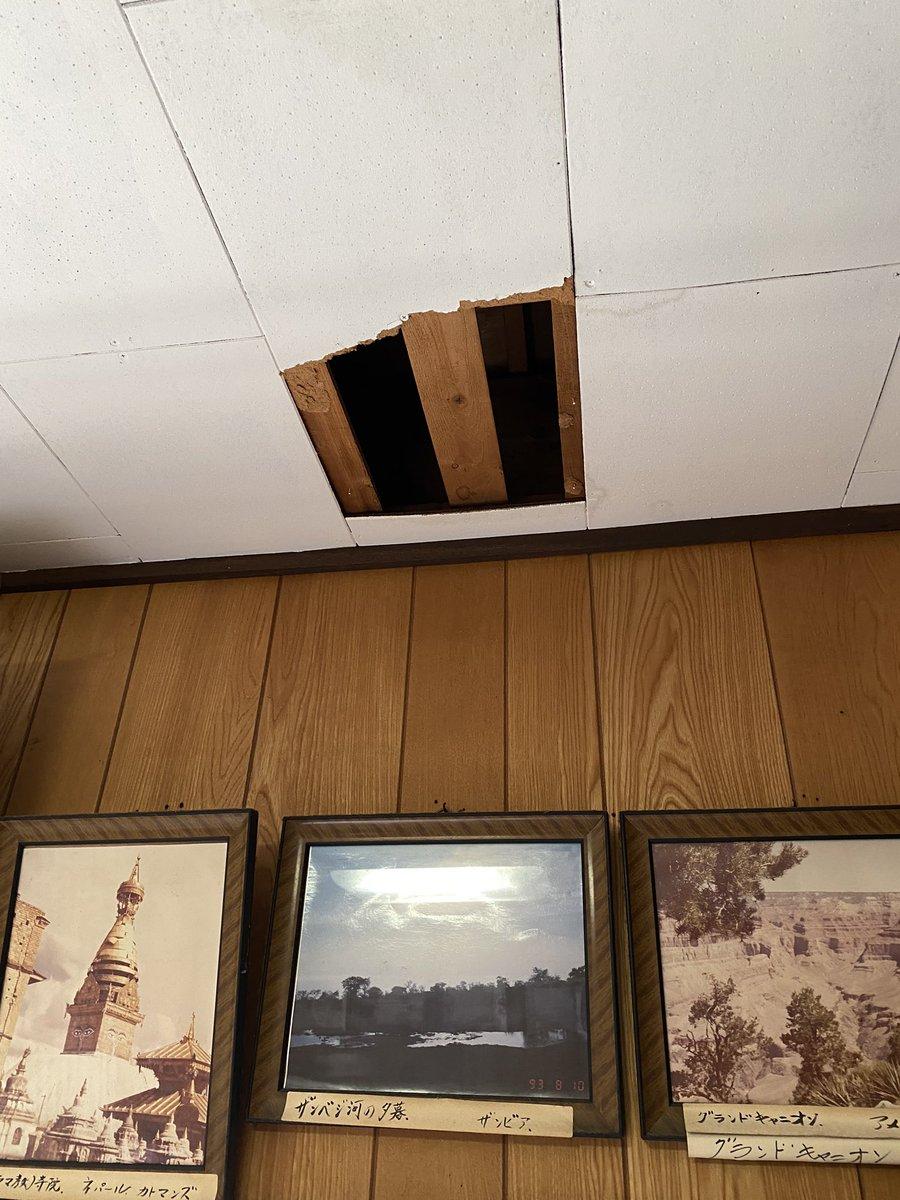 久しぶりに空き家の実家の様子を見にきたら、雑草が伸びまくり。2階の天井には穴が…。ガムテで応急処置。今回はハクビシンではなさそうだけど…。気を取り直しコンビニ弁当温めて、腹ごしらえしてから遺品整理しようと思ったけど、電子レンジの中見たら温める気を失う。雑草だけ何とかして撤収しよ。