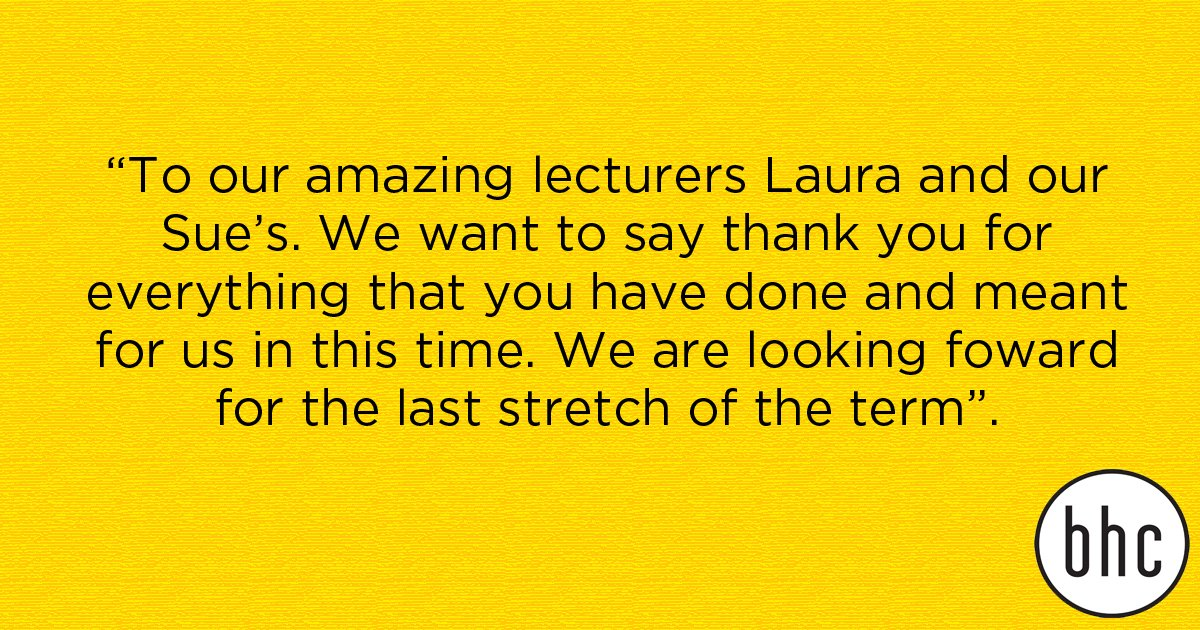 We 💛 receiving feedback from our students – Thank you for all the kind words #bhcfamily #adoreourstudents https://t.co/rdleDXT10F