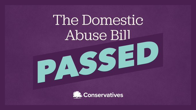 Im really pleased that the Domestic Abuse Bill has been passed by Parliament. This bill will protect approximately 2.4 million victims each year from domestic abuse. This shows the power of our democracy to make real change for people across the country.