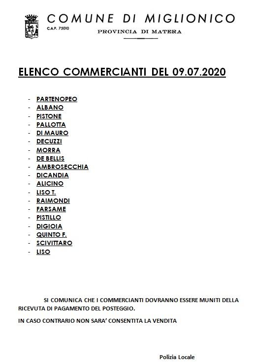 elenco commercianti mercato del 09 luglio https://...