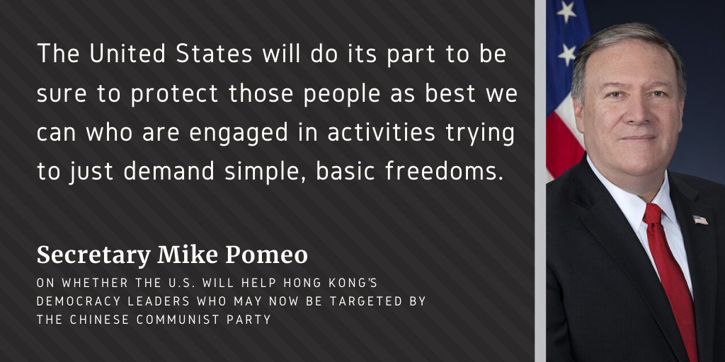 Are there any additional actions going to be taken by the U.S. to help Hong Kong's democracy leaders who may now be targeted by the Chinese Communist Party?  This was one of the questions @tperkins asked @SecPompeo during their July 6 interview. https://t.co/G3CtEZD5uS https://t.co/Ou0riyeBnj