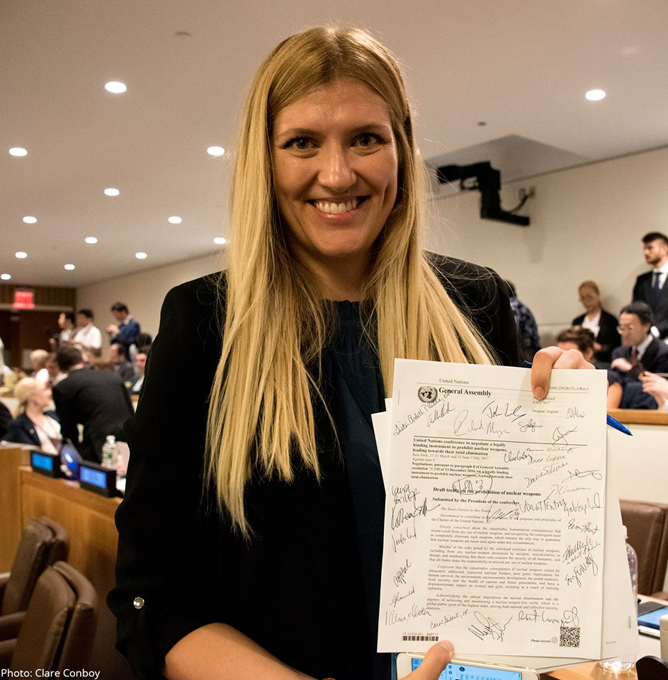 On 7 July 2017, the Treaty on the Prohibition of Nuclear Weapons, the first multilateral legally-binding instrument for nuclear disarmament to have been negotiated in 20 years, was adopted. The signed treaty in the picture is held by the Executive Director of ICAN, Beatrice Fihn.