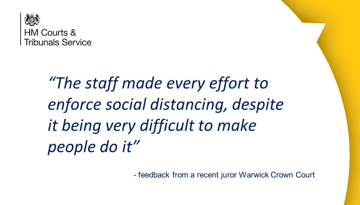 We are always grateful for the feedback we recieve on jury trials and the social distancing measures our staff have put in place, like this feedback from a recent juror at #Warwick Crown Court ⬇️ @JudiciaryUK @MoJGovUK https://t.co/MCS9esePKj