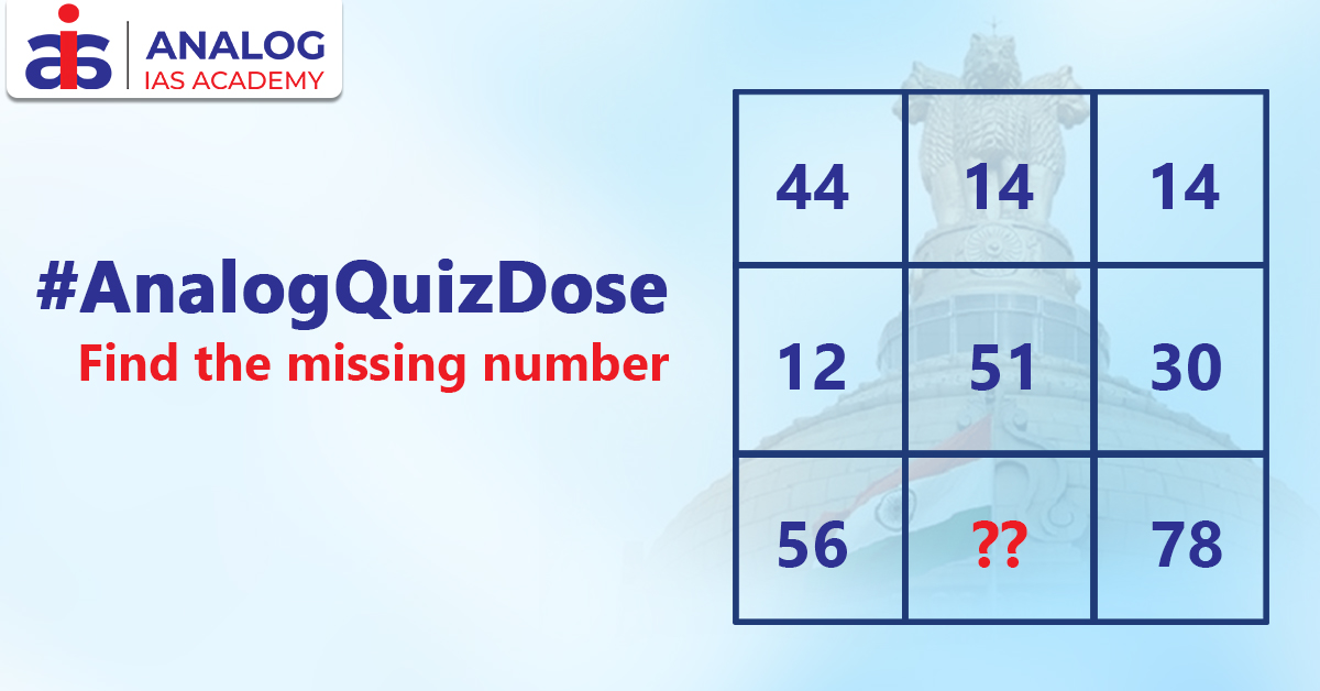 How good are you in Mathematics? Find the missing number in this grid. Tag your friends to challenge them.  #AnalogQuizDose #QuantitativeAptitude #Puzzles #MissingNumber #NumberPuzzles #IAS #IPS #CivilServicesExamination #ExamPreparation #CivilServicespic.twitter.com/dFXzfB0lYm