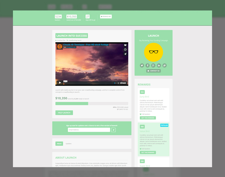 Looking to start a #crowdfunding journey? This #free #bootstrap #template can help! http://bit.ly/2ddw5DB #webdev pic.twitter.com/tzxJq92UUc