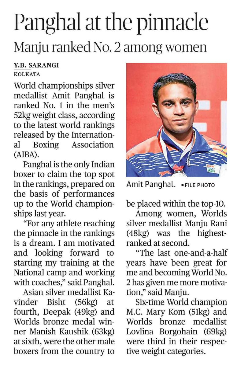 On 🔝 of the world!  Indian boxers dominated the latest @AIBA_Boxing world rankings as @Boxerpanghal claimed the No. 1️⃣ spot in 52kg.  @BoxerBisht, @iboxermanish, #Deepak,  @ImManjuRani, @MangteC & @LovlinaBorgohai were all placed in the top-🔟.  Read in details ⬇️  #boxing https://t.co/T9Cm3e0CR1
