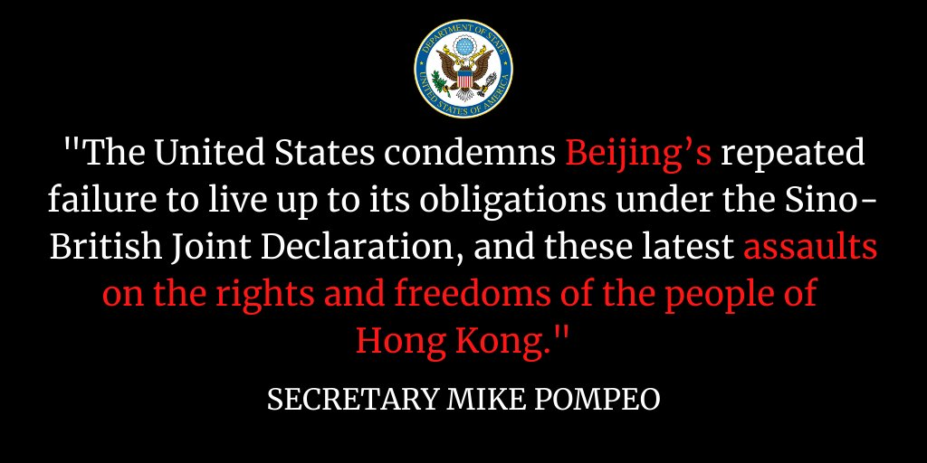 """.@SecPompeo issued a Statement re: the Chinese Communist Party's destruction of Hong Kong. """"Local authorities...started removing books critical of the CCP from library shelves, banned political slogans, & are now requiring schools to enforce censorship."""" https://t.co/iWXSd2IUWY https://t.co/fm9SB34GoI"""
