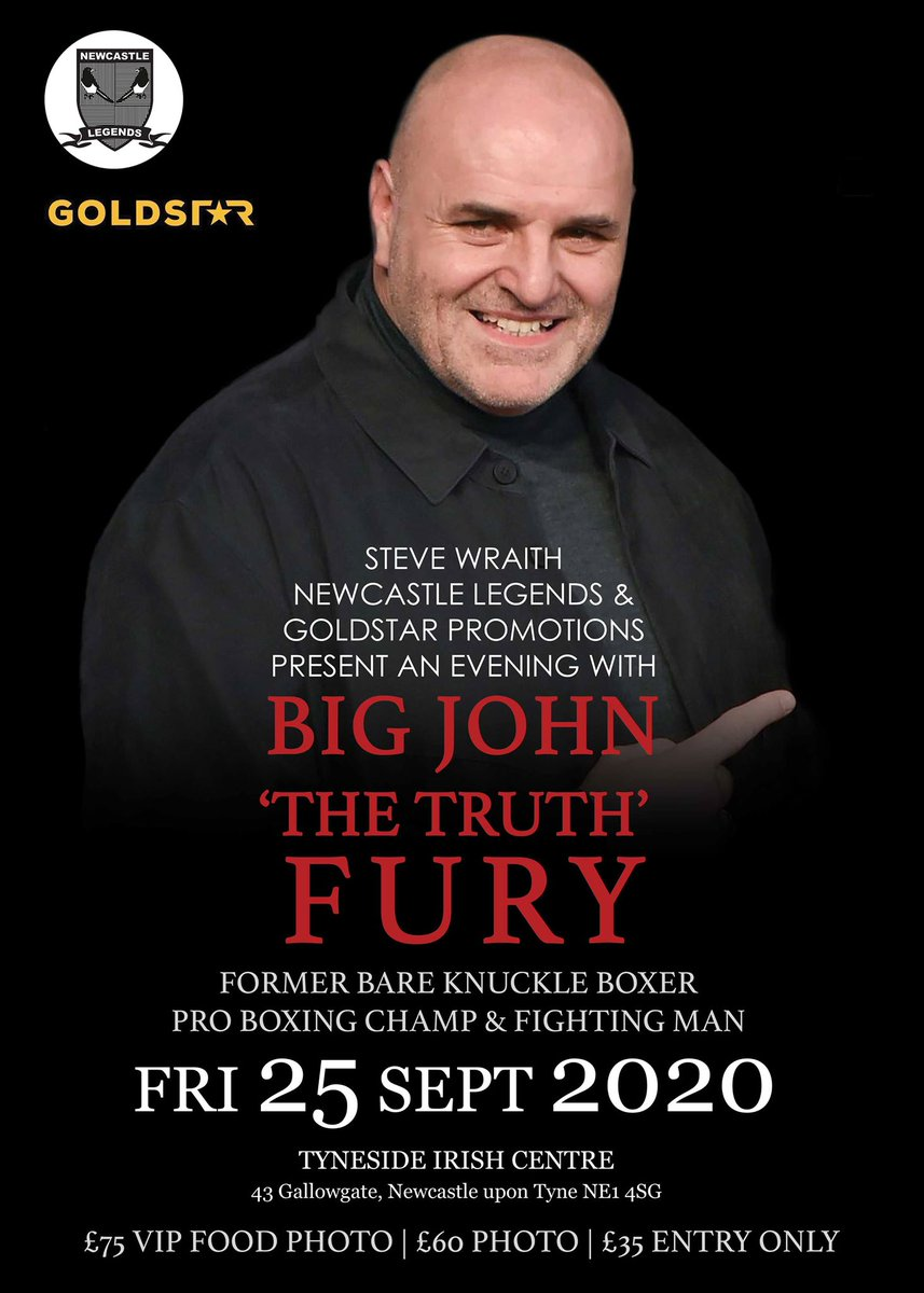 An Evening With John Fury 25th September 2020 7pm tickets from https://t.co/2LbYLugcPz #BOXING https://t.co/ooh7u1zcUb