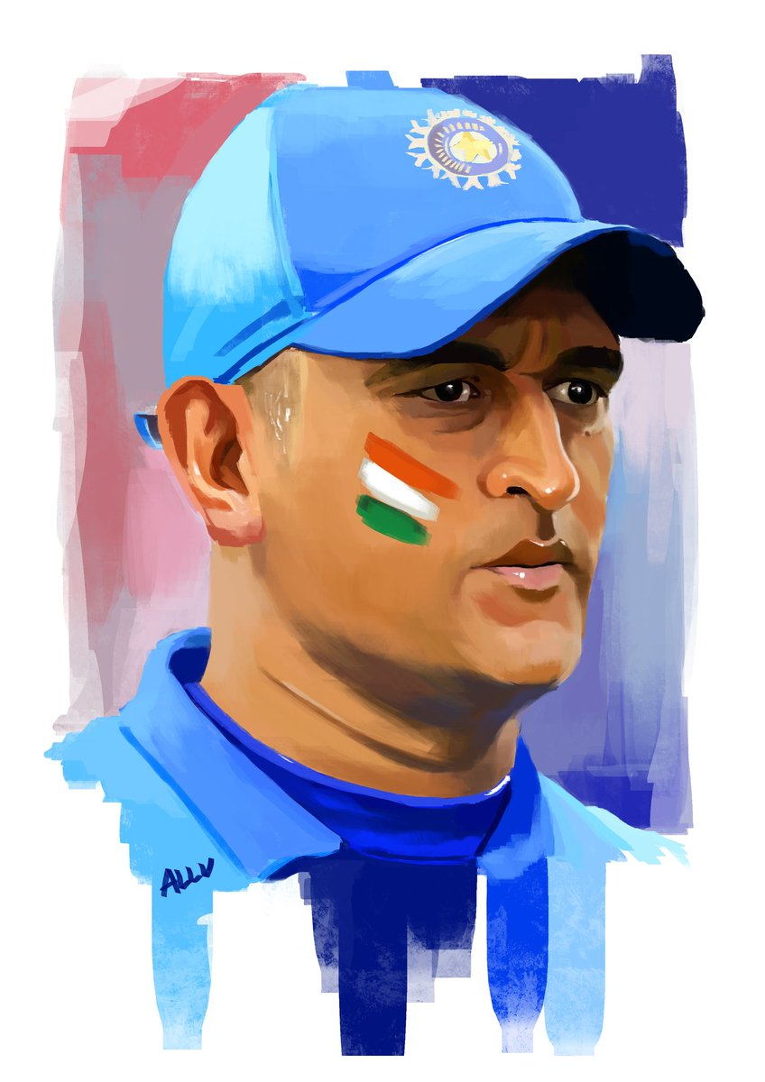 Presenting a digital painting of @msdhoni who ruled hearts and who has every ICC Trophy and Everyones heart♥️♥️♥️♥️♥️🥳🥳🥳🥳🥳🏆🏆 Happy birthday Ms Dhoni aka thala and this is a special gift for his fans from my side...I hope youll like and Rt this♥️🥳💞 #HappyBirthdayDhoni