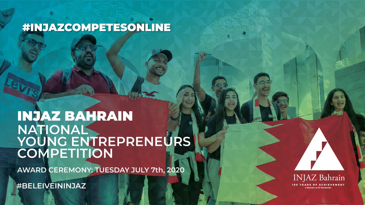 Today: @INJAZBahrain celebrates the young entrepreneurs, their journey and their ambitions... Tune in to the YEC AwardsCeremony on their YouTube channel at 4:00 pm (GMT+3) https://bit.ly/3e2qdIp  #INJAZcompetesonline #BelieveinINJAZpic.twitter.com/m18yJrCfz2