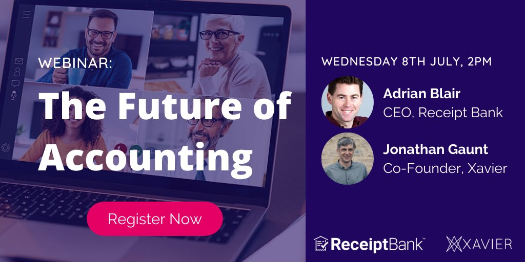 Tomorrow 8/7 @ 2pm: Join Jonathan Gaunt and @adrianblair for a discussion about the Xavier acquisition, the future of accounting, and how real-time, accurate data enables accountants to get SME's financially fit.  Not to be missed! Register here: https://t.co/nR8YIID05i https://t.co/dQT9ypseB8