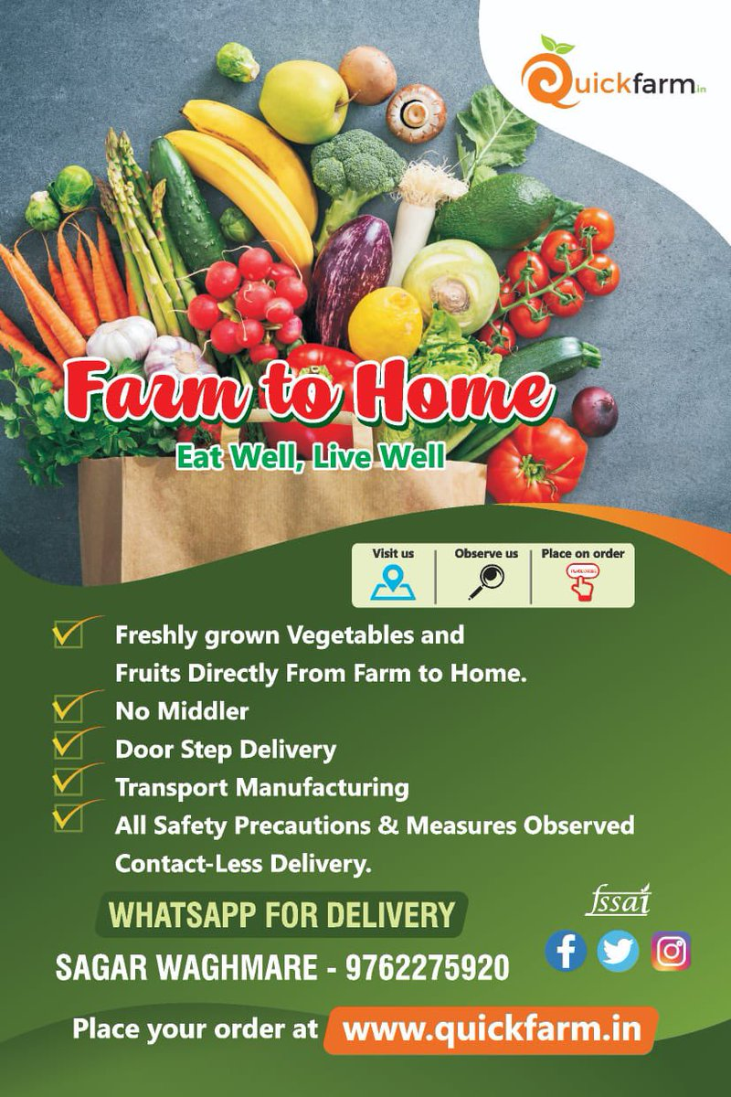 Quick Farm is now open for delivery so that you can order your fresh vegetables and fruits basket at home.We are now OPEN FOR DELIVERY via http://www.quickfarm.in .Please visit our website and order fresh veggies & fruits.Thank you! (Only for PCMC) @Quickfarm_pic.twitter.com/7Y4sndvwWT
