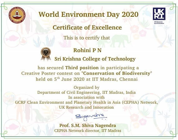 #skct #SkctciviL #environmentday #iitmadras Ms.Rohini P N , won third prize and cash award in Creative Poster Designing competition organised by IIT Madras https://t.co/uN65mhNF0Z