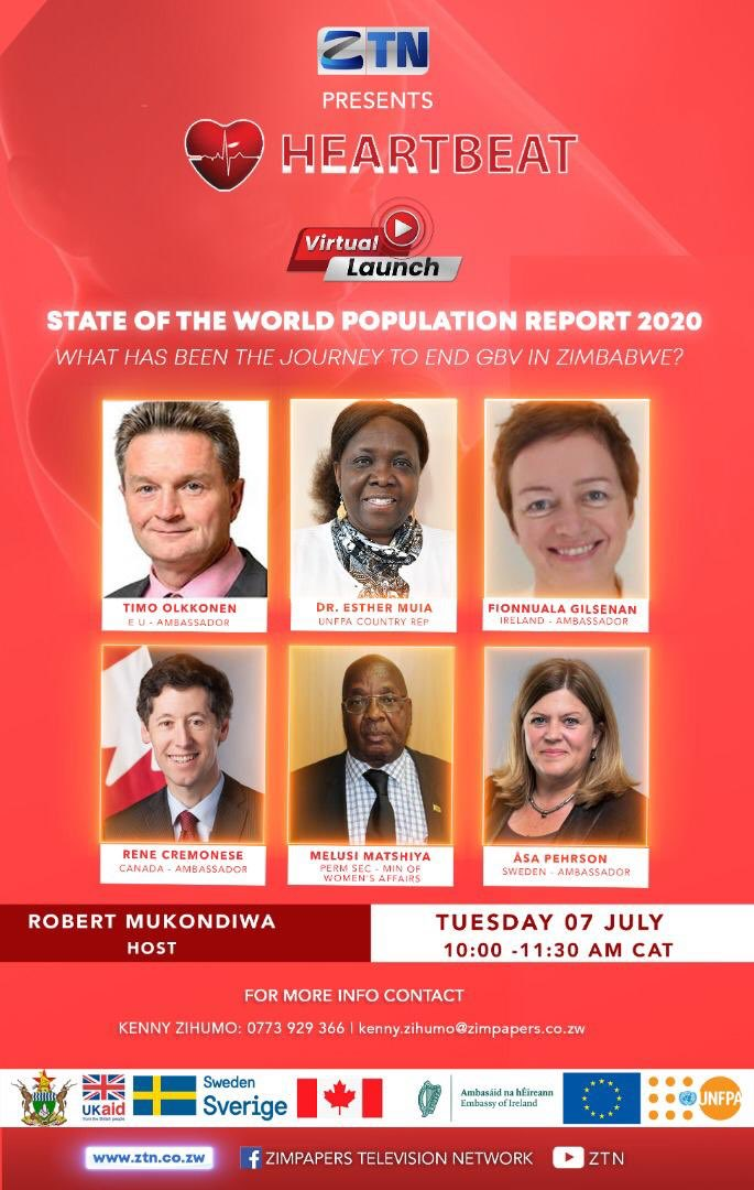 Join 🇪🇺 Ambassador @TimoOlkkonen and others for the launch of the State of the World Population Report 2020 today.  Watch #Heartbeat on @ZTNnews from 10am as panellists discuss the journey towards ending #GBV in 🇿🇼. https://t.co/6unzIwiMoY