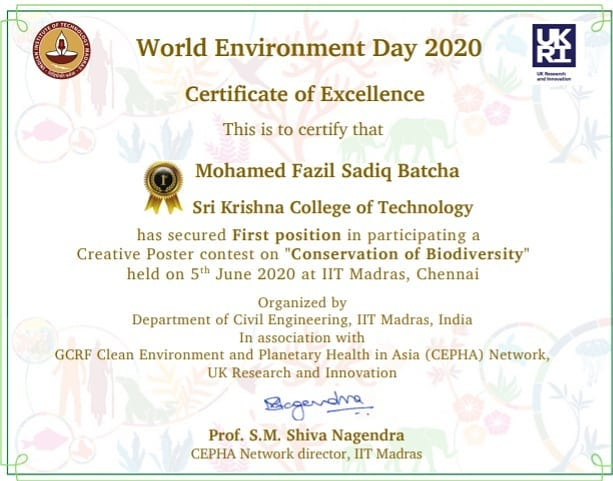 #skct #SkctciviL #environmentday Mr. Mohammed Fazil Sadiq Batcha won first prize and cash award in creative poster design competition organised by IIT Madras https://t.co/QOwTMroF2g