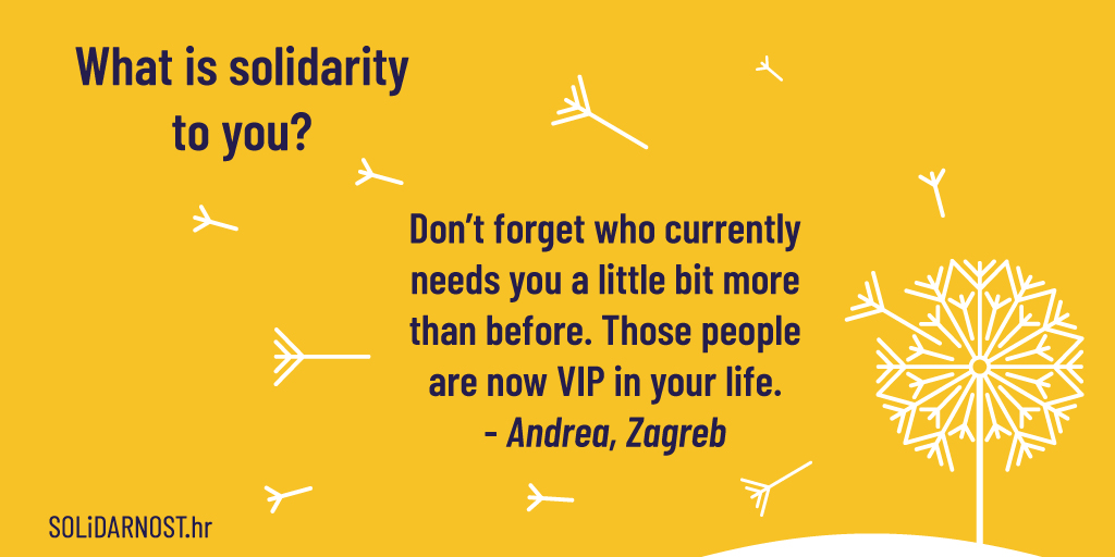 Nemojte zaboraviti na svoje bližnje, obitelj, prijatelje, pa čak i susjede. Provjerite kako su i neka se osjećaju kao VIP!😁  Čitamo vaše poruke solidarnosti na https://t.co/flppvdanm6 👈  #solidarnosthr #solidarity #eusolidarity #strongertogether #unitedagainstcoronavirus #eu https://t.co/sNtLQ8EGu8