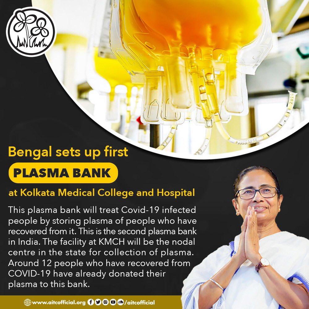 Bengal sets up first plasma bank at Kolkata Medical College and Hospital. #BengalFightsCorona<br>http://pic.twitter.com/6ZD74qxH1A