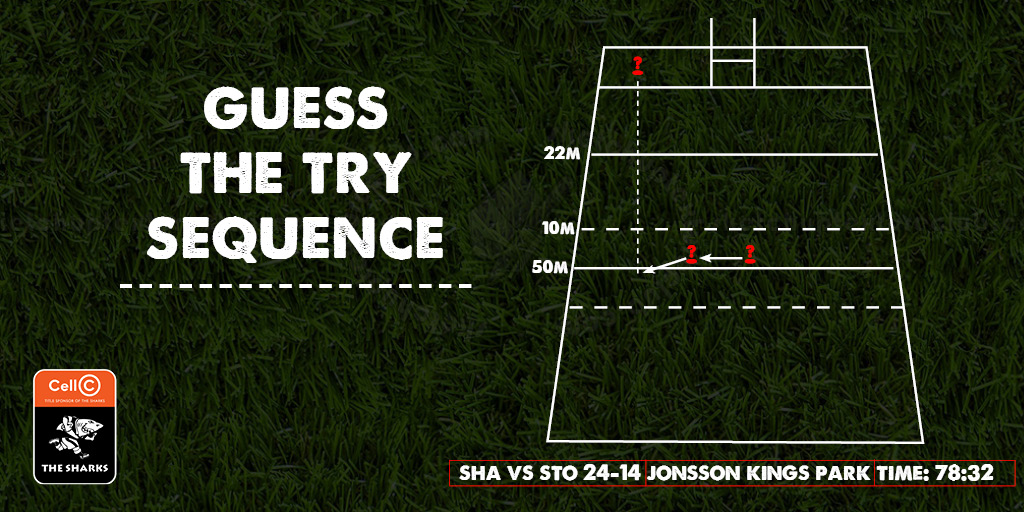 Can you guess which players were in this sequence of play?🏉 _________ receives the ball from the maul & makes a pass to the left, _______ received & makes a quick pass outside to_________ who outruns the defenders & sprints downfield to score The Sharks final try of the night!