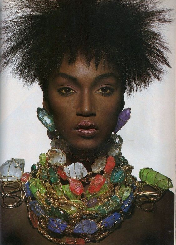 "Katoucha Niane. A Guinean model nicknamed ""the Peul princess"". After emigrating to France at 17, she started modeling and walking for dozens of high fashion brands. She was also known as a muse to Yves Saint Laurent. Thanks @queenofnochill !!!<br>http://pic.twitter.com/QQsKidpgfO"