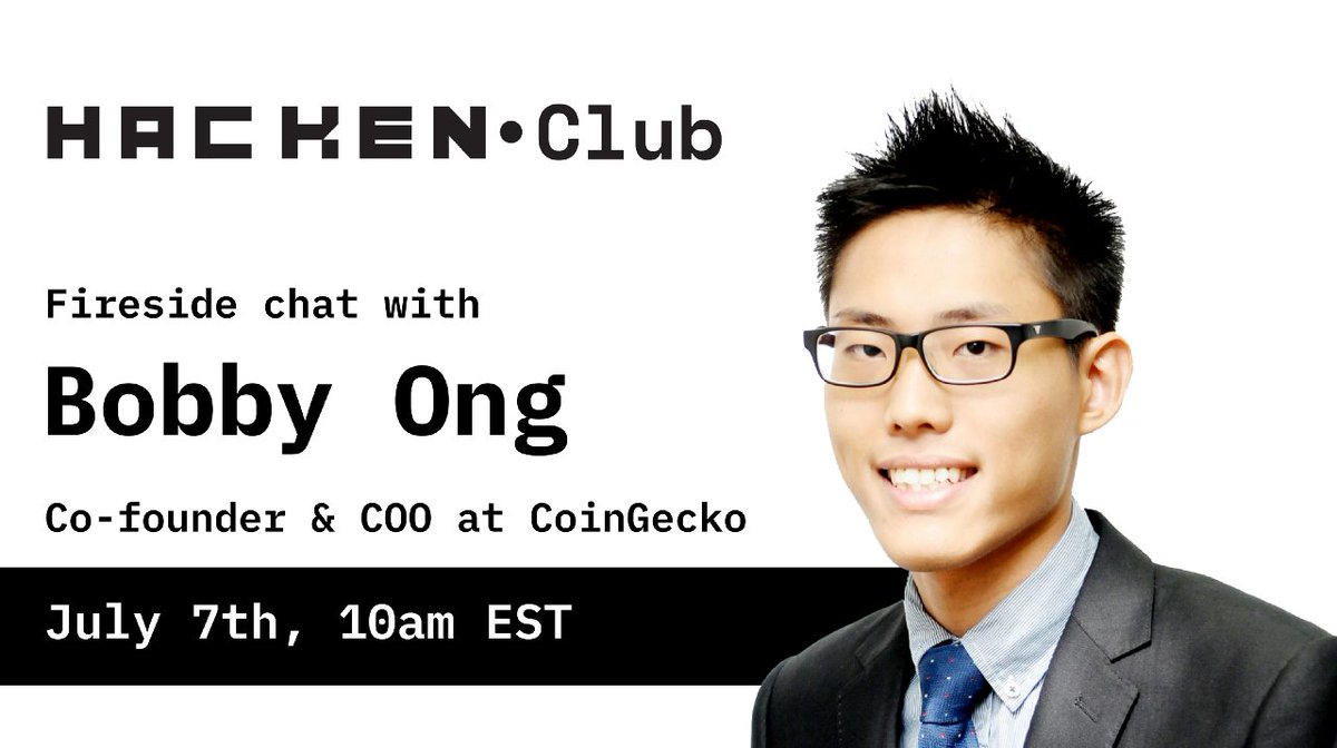𝐓𝐨𝐝𝐚𝐲 𝐚𝐭 𝟭𝟬𝗔𝗠 𝗘𝗦𝗧, our co-founder, @bobbyong will be doing a fireside chat with Hacken (@Hackenclub) CEO, Dyma Budorin (@buda_kyiv) on the Hacken Telegram group. Come and join us at gcko.io/dnsoogt 🔥
