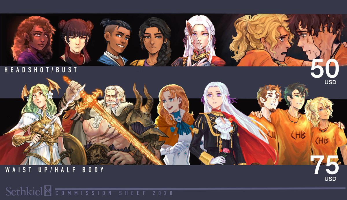 🔱Commissions are open!🔱 Okay so I'm a year older this month and I feel like my art went through some changes over the course of the year so I've decided to remake the whole commission sheet.🤗 Thank you so much for supporting me #artistsontwitter #artph
