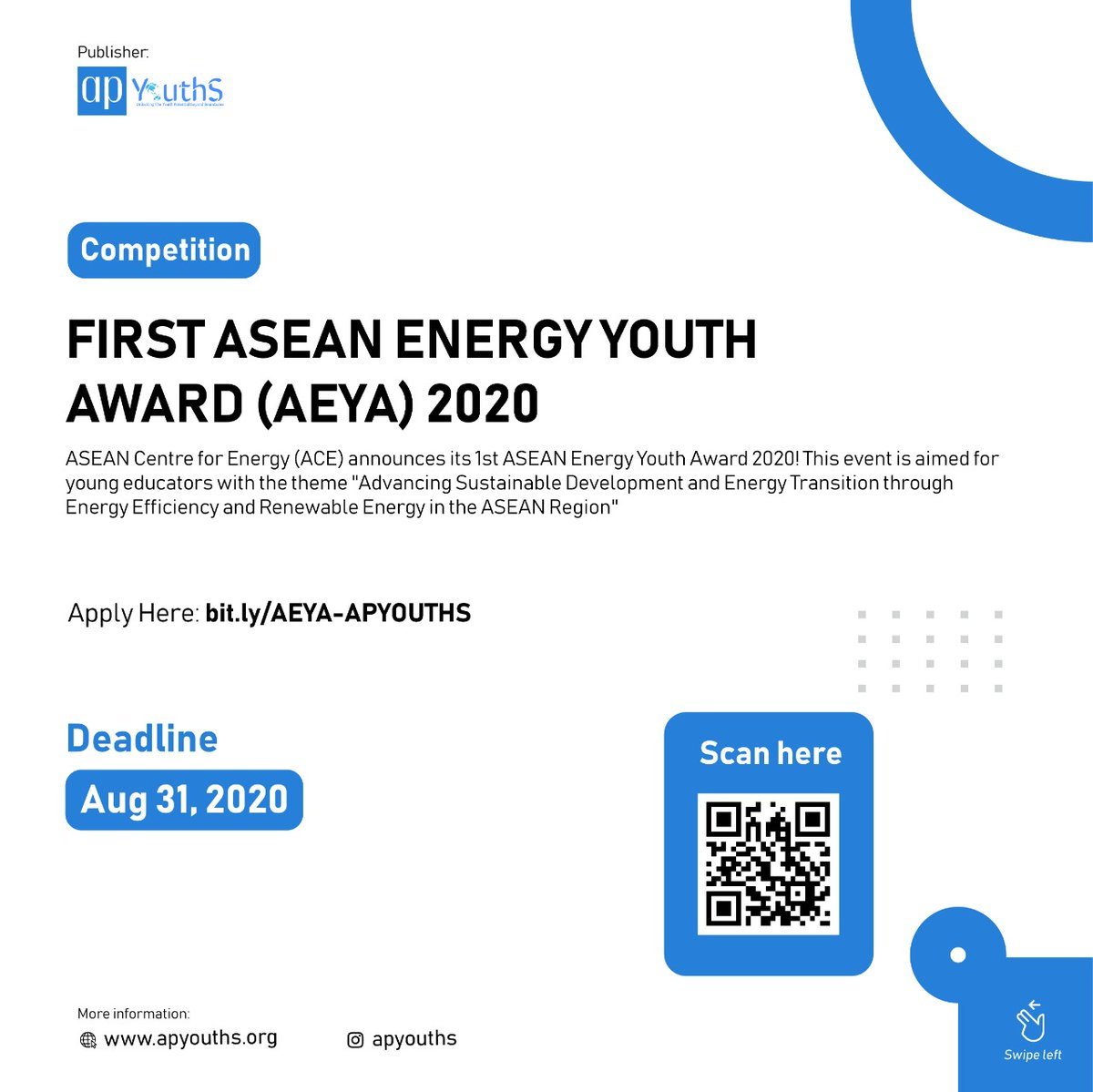 [Competition] FIRST ASEAN ENERGY YOUTH AWARD 2020 Deadline: 31 August 2020  For the complete guideline, you can visit the following link https://t.co/r5Cjg7hxqQ  Published by @ apyouths.secretariat Credited to @aseanfoundation #ASEANEnergy #aeya2020 #WeAreASEAN #asiapacific https://t.co/lwIzoJ12Sy