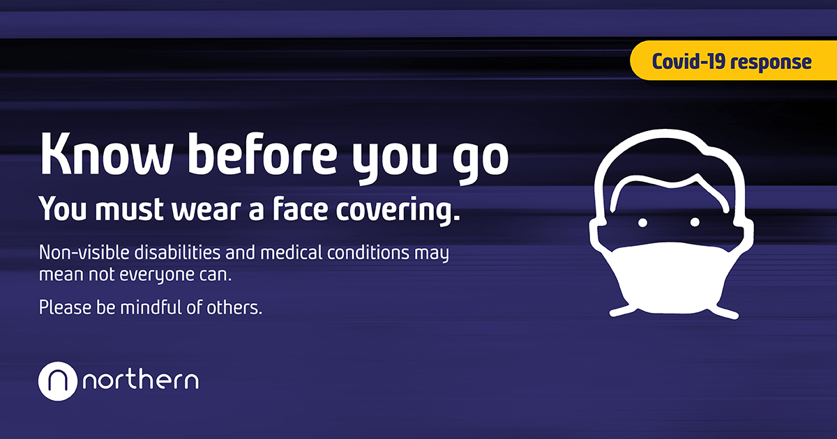 If you choose to travel by train, please travel safe and know before you go.   Make sure you wear a face covering (unless a medical condition or disability prevents you)  For face covering FAQs 👉 https://t.co/EdYv90s9yu  More travel advice 👉 https://t.co/2xwTU5gCVR https://t.co/jGmfSmUsg9